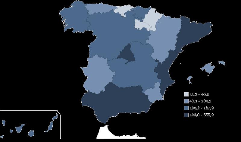 mapa de espana funcionarios 2017
